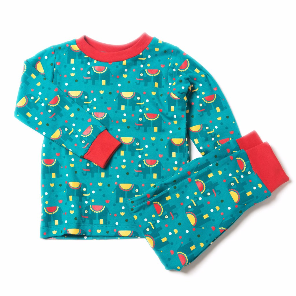 Organic Fairtrade Cotton - Jungle Elephants PJ's